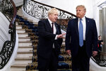 President Donald Trump and Britain's Prime Minister Boris Johnson, left, speak to the media before a working breakfast meeting at the Hotel du Palais on the sidelines of the G-7 summit in Biarritz, France, Sunday, Aug. 25, 2019. (Erin Schaff, The New York Times, Pool)