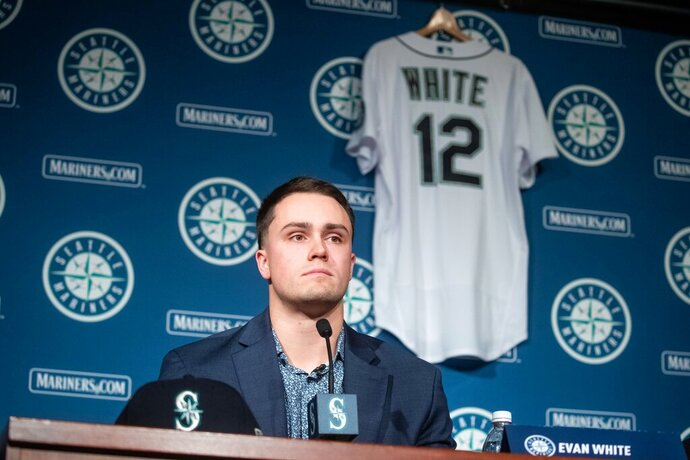 The Seattle Mariners hold a news conference at T-Mobile Park on Monday, Nov. 25, 2019 to announce the signing for first baseman Evan White. (Andy Bao/The Seattle Times via AP)