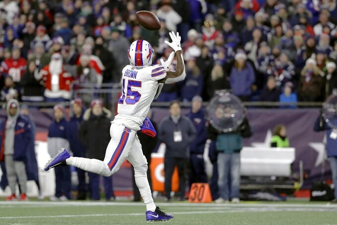 Buffalo Bills wide receiver John Brown catches a pass before running for a touchdown in the second half of an NFL football game against the New England Patriots, Saturday, Dec. 21, 2019, in Foxborough, Mass. (AP Photo/Steven Senne)