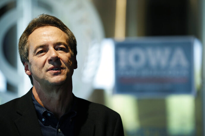 In this Sept. 12, 2019, photo, Democratic presidential candidate Montana Gov. Steve Bullock speaks during a meet and greet in Clive, Iowa. With governors struggling under new party rules, Bullock is the last governor standing in the crowded Democratic presidential field (AP Photo/Charlie Neibergall)