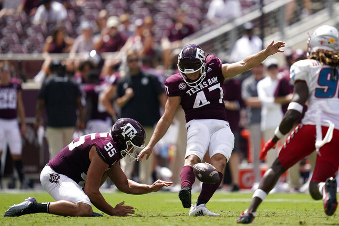 Texas A&M place kicker Seth Small (47) kicks a 44-yard field goal against New Mexico during the second half of an NCAA college football game on Saturday, Sept. 18, 2021, in College Station, Texas. (AP Photo/Sam Craft)
