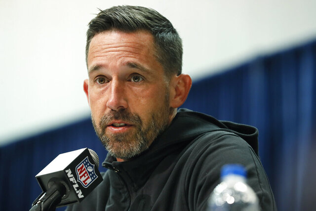 FILE - In this Feb. 25, 2020, file photo, San Francisco 49ers head coach Kyle Shanahan speaks during a news conference at the NFL football scouting combine in Indianapolis. Shanahan praised former NFL quarterback Colin Kaepernick Thursday, June 4, for trying to bring the issue of racism and police brutality to light with his protests during the national anthem in the 2016 season. (AP Photo/Charlie Neibergall, File)
