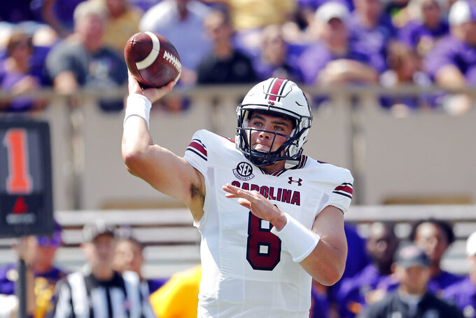 South Carolina's Zeb Noland (8) passes the ball against the East Carolina during the first half of an NCAA college football game in Greenville, N.C., Saturday, Sept. 11, 2021. (AP Photo/Karl B DeBlaker)