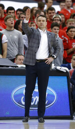 Indiana head coach Archie Miller instructs his team during the first half of an NCAA college basketball game against Ohio State, Saturday, Feb. 1, 2020, in Columbus, Ohio. (AP Photo/Jay LaPrete)
