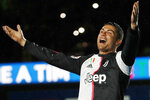 FILE - In this Sunday, May 19, 2019 file photo, Juventus' Cristiano Ronaldo celebrates at the end of the Serie A soccer match between Juventus and Atalanta at the Allianz stadium, in Turin, Italy. On Friday, May 24, 2019, The Associated Press has found that stories circulating on the internet that the soccer star donated 1.5 million euros to Palestinians for iftar, the meal eaten each night to break fast during Ramadan, are untrue. (AP Photo/Antonio Calanni)