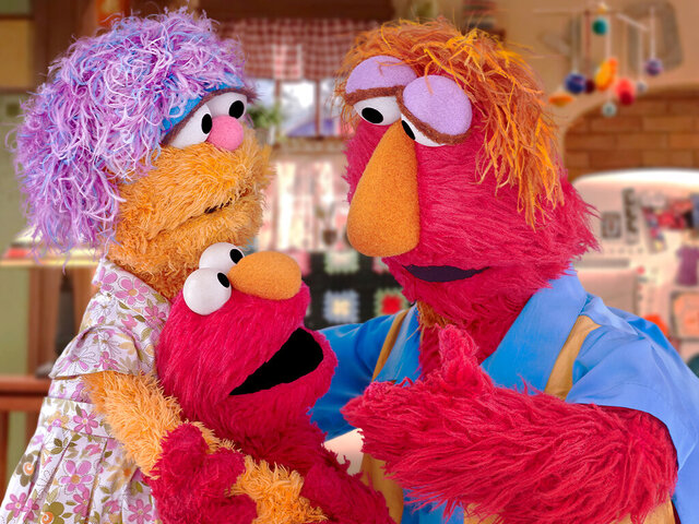 This undated image provided by Sesame Workshop shows Elmo and his parents Louie and Mae. Sesame Workshop announced Monday, March 30, 2020, that Elmo, Rooster and Cookie Monster are featured in some of four new animated public service spots reminding young fans to take care while doing such things as washing hands and sneezing. The content, which will be translated into 19 languages, is part of Sesame Workshop's Caring for Each Other initiative to help families stay physically and mentally healthy during the coronavirus pandemic. (Sesame Workshop via AP)