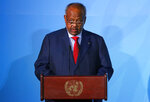 FILE - In this Monday, Sept. 23, 2019 file photo, Djibouti's President Ismael Omar Guelleh addresses the Climate Action Summit in the United Nations General Assembly, at U.N. headquarters. The Horn of Africa country of Djibouti is going to the polls on Friday, April 9, 2021 as President Ismail Omar Guelleh seeks a fifth term in the small but strategically important nation home to military bases for the United States, China and others. (AP Photo/Jason DeCrow, File)