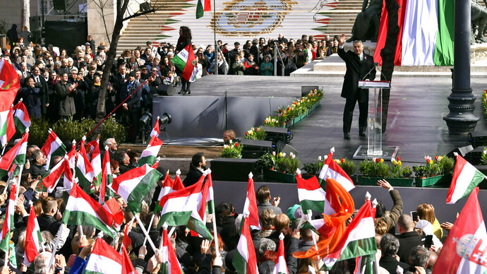 Hungarian Prime Minister Viktor Orban attends a ceremony during the 171th anniversary of the outbreak of the 1848 revolution and war of independence against the Habsburg rule in Budapest, Hungary, Friday, March 15, 2019. (Zsolt Szigetvary/MTI via AP)