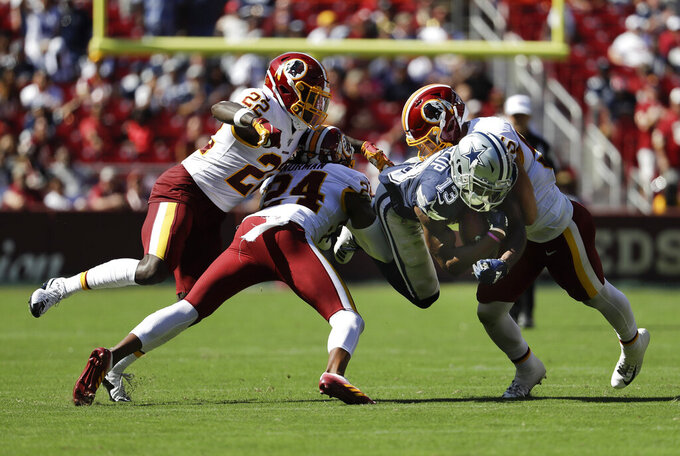 Dallas Cowboys wide receiver Michael Gallup (13) is stopped by Washington Redskins defensive back Deshazor Everett (22), cornerback Josh Norman (24) and Washington Redskins linebacker Cole Holcomb (55) in the second half of an NFL football game, Sunday, Sept. 15, 2019, in Landover, Md. Cowboys won the game 31-21. (AP Photo/Evan Vucci)