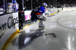 New York Islanders goaltender Semyon Varlamov (40) takes the ice before Game 3 of the team's NHL hockey second-round playoff series against the Boston Bruins on Thursday, June 3, 2021, in Uniondale, N.Y. (AP Photo/Frank Franklin II)