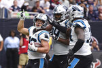 Carolina Panthers running back Christian McCaffrey (22) celebrates his touchdown against the Houston Texans during the first half of an NFL football game Sunday, Sept. 29, 2019, in Houston. (AP Photo/Eric Christian Smith)