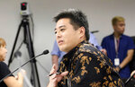 Hawaii Chief Election Officer Scott Nago speaks to lawmakers at a briefing at the Hawaii State Capitol in Honolulu, on Wednesday, Nov. 13, 2019. Elections officials are warning that shifting to voting by mail won't mean that Hawaii election results will be available sooner. (AP Photo/Audrey McAvoy)