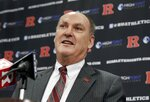 FILE - In this Nov. 20, 2012, file photo, Big Ten Conference Commissioner Jim Delany answers a question during a news conference, at Rutgers University in Piscataway, N.J. Delany, one of the most influential figures in college athletics for three decades, will step down as Big Ten commissioner when his contract expires June 30, 2020. The Big Ten announced Delany's plans on Monday, March 4, 2019. The 71-year-old has been commissioner since 1989. (AP Photo/Mel Evans, File)
