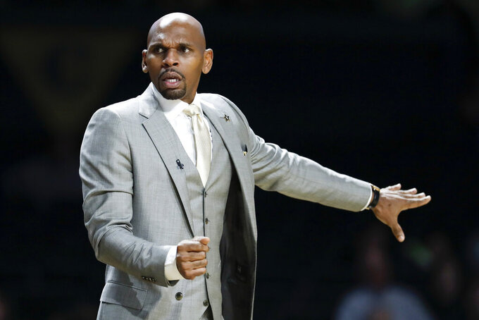 Vanderbilt head coach Jerry Stackhouse watches from the sideline in the second half of an NCAA college basketball game against Southeastern Louisiana, Monday, Nov. 25, 2019, in Nashville, Tenn. (AP Photo/Mark Humphrey)