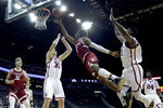Stanford guard Bryce Wills (2) shoots over Oklahoma forward Brady Manek (35) during the second half of an NCAA college basketball game Monday, Nov. 25, 2019, in Kansas City, Mo. Stanford won 73-54. (AP Photo/Charlie Riedel)
