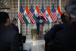 President Donald Trump speaks with business leaders at a roundtable event at Roosevelt House, Tuesday, Feb. 25, 2020, in New Delhi, India. (AP Photo/Alex Brandon)
