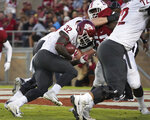 Washington State running back James Williams scores a touchdown in the second half against Stanford during an NCAA college football game on Saturday, Oct. 27, 2018, in Stanford, Calif. (AP Photo/Don Feria)