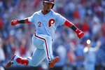 Philadelphia Phillies' Jean Segura celebrates after hitting a game-winning three-run home run off New York Mets relief pitcher Edwin Diaz during the ninth inning of a baseball game, Thursday, June 27, 2019, in Philadelphia. Philadelphia won 6-3. (AP Photo/Matt Slocum)