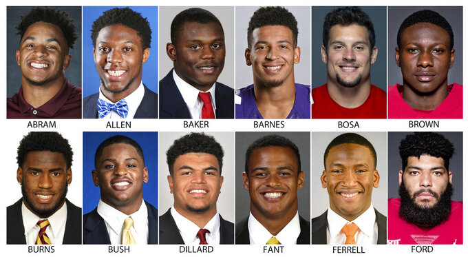 These photos provided by their respective schools shows prospects in the 2019 NFL Draft. Top row from left are: Johnathan Abram, Mississippi State; Josh Allen, Kentucky; Deandre Baker, Georgia; Alex Barnes, Kansas State; Nick Bosa, Ohio State and Marquise Brown, Oklahoma. Bottom row from left are: Brian Burns, Florida State; Devin Bush, Michigan; Andre Dillard, Washington State; Noah Fant, Iowa; Clelin Ferrell, Clemson and Corey Ford, Oklahoma. (AP Photo)