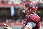 South Carolina quarterback Jake Bentley (19) celebrates a touchdown against Coastal Carolina during the first half of an NCAA college football game Saturday, Sept. 1, 2018, in Columbia, S.C. South Carolina defeated Coastal Carolina 49-15. (AP Photo/Sean Rayford)