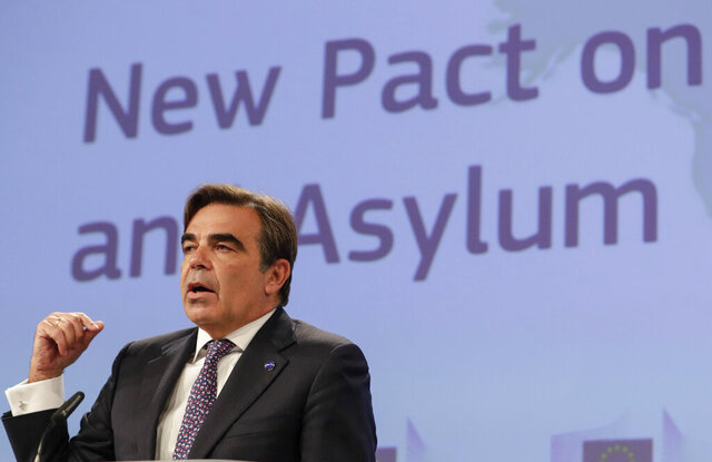European Commissioner for Promoting our European Way of Life Margaritas Schinas, speaks during a media conference on the New Pact for Migration and Asylum at EU headquarters in Brussels, Wednesday, Sept. 23, 2020. (Stephanie Lecocq, Pool via AP)