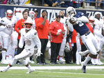 Utah State safety Jontrell Rocquemore (3) intercepts a pass intended for UNLV wide receiver Brandon Presley (80) during an NCAA college football game Saturday, Oct. 13, 2018, in Logan, Utah. (Eli Lucero/The Herald Journal via AP)