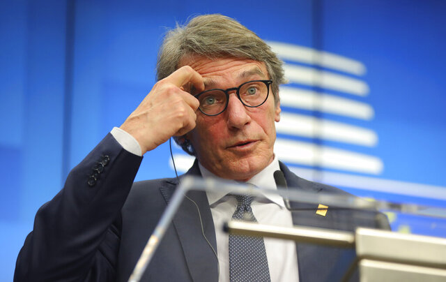 European Parliament President David Sassoli speaks during a media conference at an EU summit in Brussels, Thursday, Feb. 20, 2020. After almost two years of sparring, the EU will be discussing the bloc's budget to work out Europe's spending plans for the next seven years. (AP Photo/Olivier Matthys)