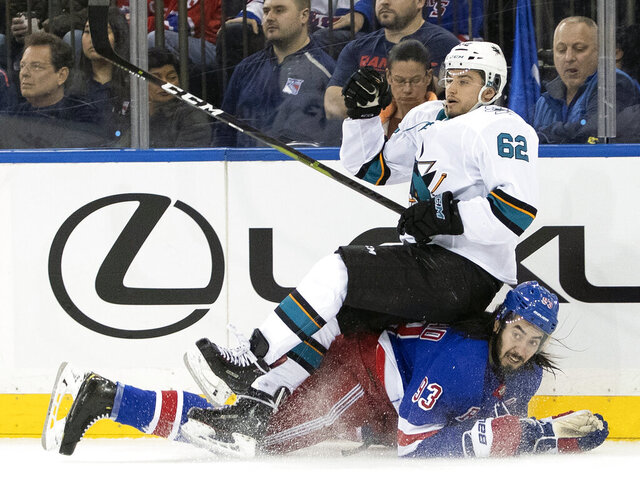 San Jose Sharks right wing Kevin Labanc (62) falls over New York Rangers center Mika Zibanejad (93) during the second period of an NHL hockey game, Saturday, Feb. 22, 2020, at Madison Square Garden in New York. (AP Photo/Mary Altaffer)