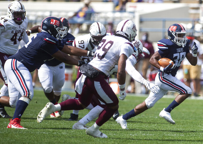 Jackson State's Santee Marshall (38) runs to the end zone against Alabama A&M during an NCAA college football game at Veterans Memorial Stadium in Jackson, Miss., Saturday, April 10, 2021. (Eric Shelton/The Clarion-Ledger via AP)