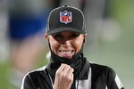 Down judge Sarah Thomas (53) during the second half of the NFL Super Bowl 55 football game between the Tampa Bay Buccaneers and the Kansas City Chiefs Sunday, Feb. 7, 2021, in Tampa, Fla. (AP Photo/Chris O'Meara)