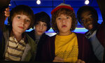 This image released by Netflix shows Noah Schnapp, from left, Finn Wolfhard, Gaten Matarazzo and Caleb Mclaughlin in a scene from