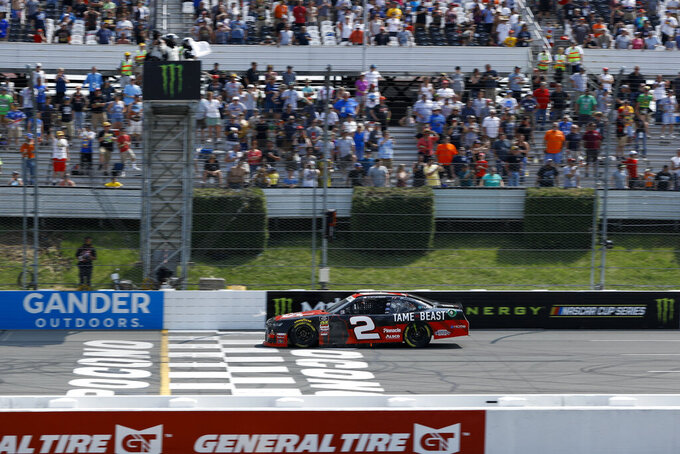 Tyler Reddick in action during the NASCAR Xfinity Series auto race at Pocono Raceway, Saturday, June 1, 2019, in Long Pond, Pa. (AP Photo/Matt Slocum)