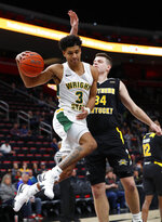 Wright State guard Mark Hughes (3) drives on Northern Kentucky forward Drew McDonald (34) during the first half of an NCAA college basketball game in the Horizon League men's tournament championship game in Detroit, Tuesday, March 12, 2019. (AP Photo/Paul Sancya)