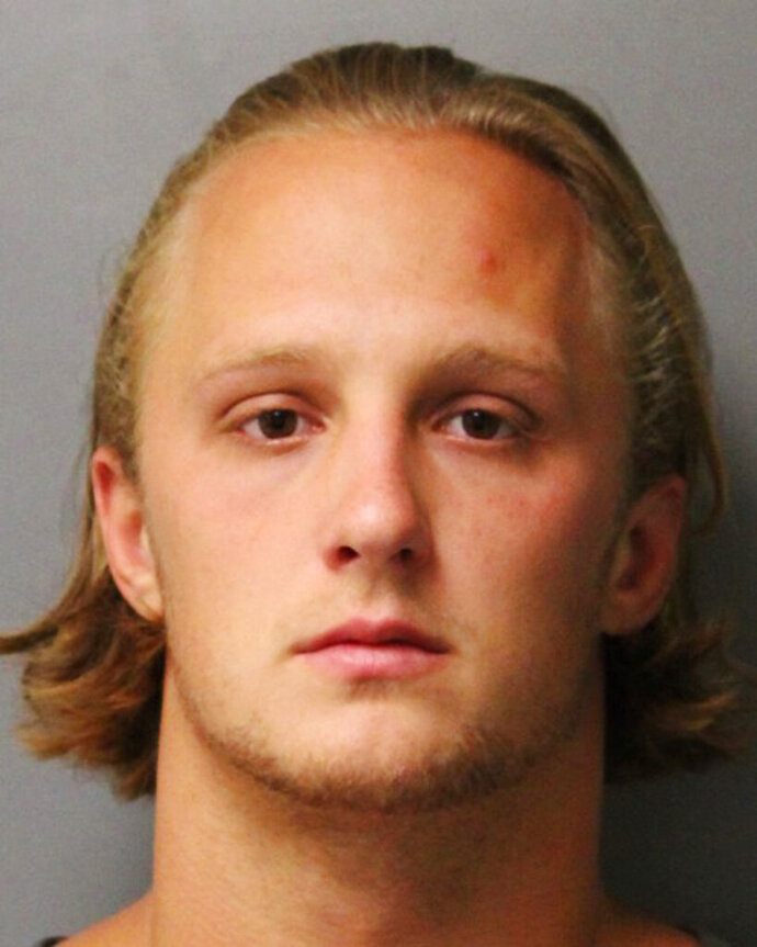 FILE- In this 2018 file photo provided by the Delaware State Police shows Clay Conaway, a former University of Delaware baseball player charged with raping multiple women. Conaway is scheduled to be sentenced, Friday, Dec. 21, 2019 for the 2018 rape of a woman he met online. (Delaware State Police via AP, File)
