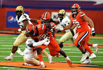Syracuse running back Markenzy Pierre (22) during the first half of an NCAA college football game against Wake Forest on Saturday, Oct. 31, 2020, in Syracuse, N.Y. (Dennis Nett/The Post-Standard via AP)