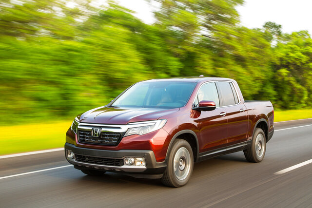 This undated photo provided by Honda shows the 2020 Honda Ridgeline, a midsize truck that is recommended for tailgating. (American Honda Motor Co. via AP)
