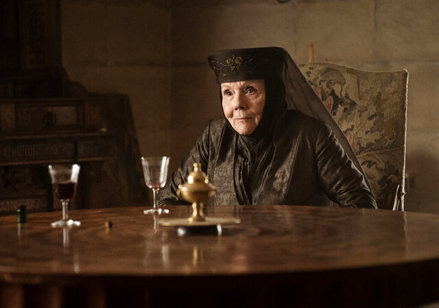 This image released by HBO shows Diana Rigg as Olenna Tyrell in a scene from