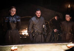 This image released by HBO shows from left, Sophie Turner, Kit Harington, Isaac Hempstead Wright, and Maisie Williams in a scene from