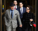 Roger Stone with his wife Nydia Stone, right, leave federal court Washington, Tuesday, Nov. 12, 2019. Stone, a longtime Republican provocateur and former confidant of President Donald Trump, wanted to contact Jared Kushner in order to