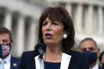 Rep. Jackie Speier, D-Calif., Chair of the House Armed Services Military Personnel Subcommittee, speaks during a news conference about the