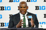 FILE- In this July 23, 2021, file photo, Michigan State head coach Mel Tucker talks to reporters during an NCAA college football news conference at the Big Ten Conference media days at Lucas Oil Stadium in Indianapolis. Northwestern hopes to get some payback against Michigan State. The Wildcats will have their opportunity Friday night when they open at home against the Spartans in what they hope kicks off a run toward their third Big Ten West championship in four years. (AP Photo/Michael Conroy, File)