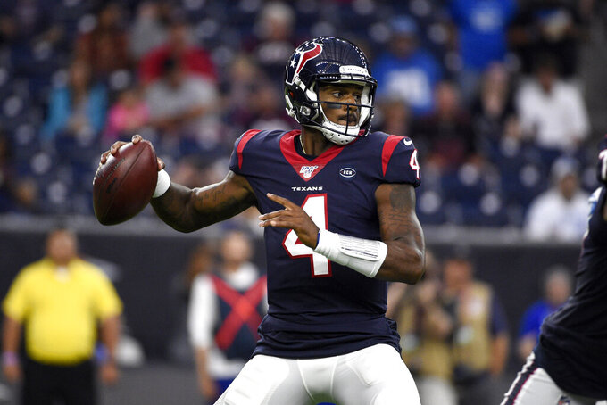 Houston Texans quarterback Deshaun Watson (4) throws a pass against the Detroit Lions during the first half of an NFL preseason football game Saturday, Aug. 17, 2019, in Houston. (AP Photo/Eric Christian Smith)