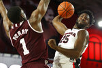 Georgia forward Amanze Ngumezi (25) takes a shot while being defended by Mississippi State forward Reggie Perry (1) )during an NCAA college basketball game in Athens, Ga., Wednesday, Feb. 20, 2019. (Joshua L. Jones/Athens Banner-Herald via AP)