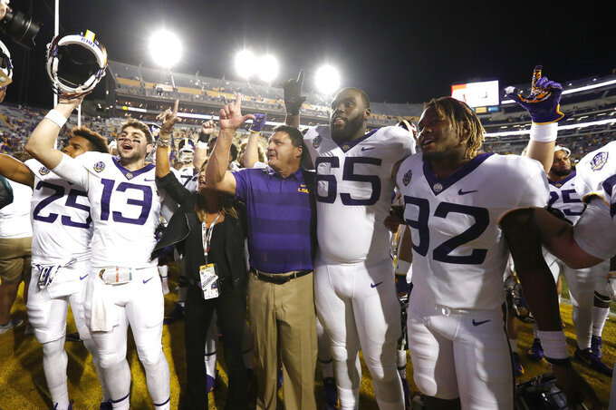 LSU's Orgeron hopes coaches demand change to targeting rule