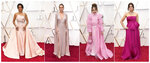 This combination photo shows, from left, Regina King, Brie Larson, Julia Butters and Idina Menzel at the Oscars on Sunday, Feb. 9, 2020, at the Dolby Theatre in Los Angeles. (AP Photo)