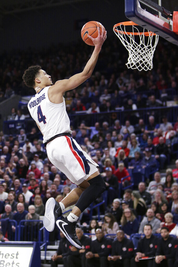 Gonzaga guard Ryan Woolridge (4) shoots during the first half of an NCAA college basketball game against Detroit Mercy in Spokane, Wash., Monday, Dec. 30, 2019. (AP Photo/Young Kwak)