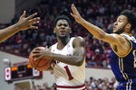 Indiana guard Al Durham, left, drives in front of Western Illinois guard Kobe Webster in the first half of an NCAA college basketball game in Bloomington, Ind., Tuesday, Nov. 5, 2019. (AP Photo/AJ Mast)