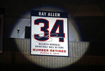 Naismith Memorial Basketball Hall of Famer Ray Allen's number is retired to the rafters during a halftime ceremony at an NCAA college basketball game between South Florida and Connecticut, Sunday, March 3, 2019, in Storrs, Conn. (AP Photo/Steven Senne)