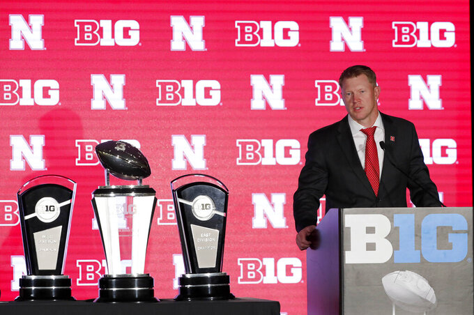 Nebraska head coach Scott Frost responds to to a question during the Big Ten Conference NCAA college football media days Thursday, July 18, 2019, in Chicago. (AP Photo/Charles Rex Arbogast)