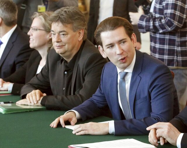 Vice Chancellor Werner Kogler, left, from the Austrian Green party and Chancellor Sebastian Kurz, right, from the Austrian People's Party, OEVP, attend a cabinet meeting at the federal chancellery, in Vienna, Austria, Wednesday, Jan. 8, 2020. (AP Photo/Ronald Zak)